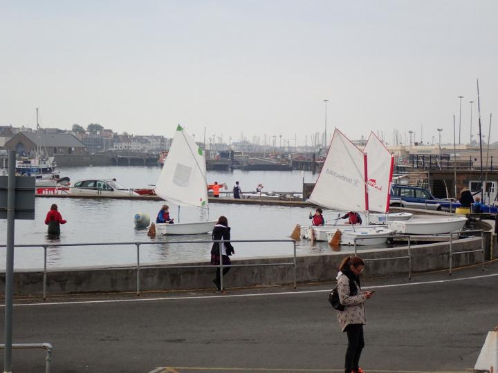 Optimists sailing on the pond
